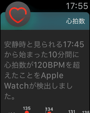Apple Watchの心拍数アプリが心拍の異常を通知(後日キャプチャしたもの)