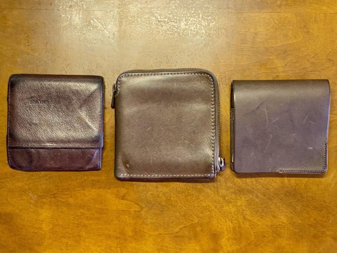 左からabrAsus薄い財布、HITOE L-zip S、HITOE FOLD