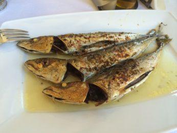 レストラン「ビザンティオ」の料理「小魚のグリル」